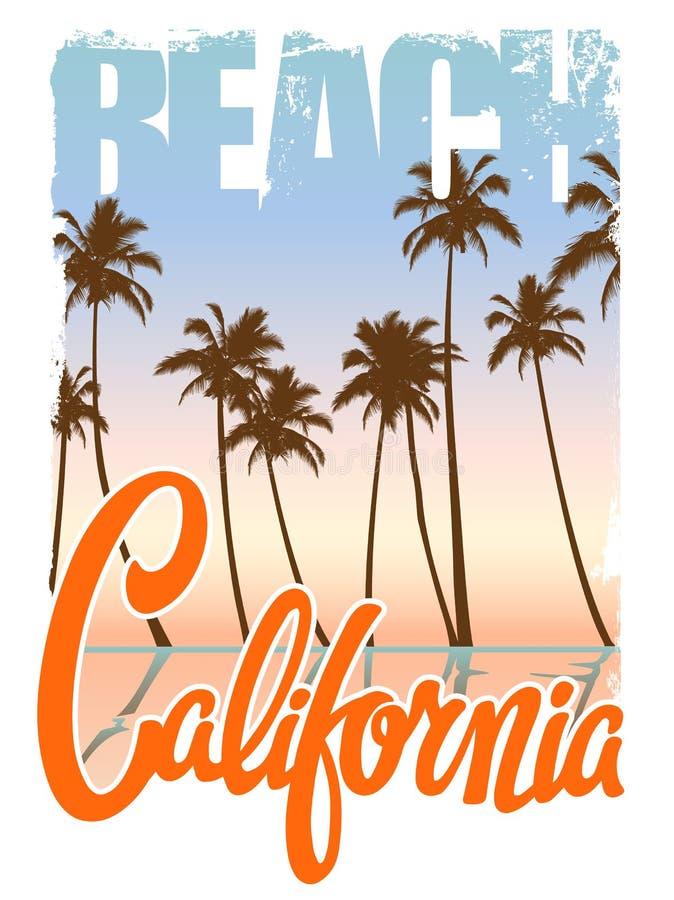 加利福尼亚海滩T恤杉印刷品 库存例证