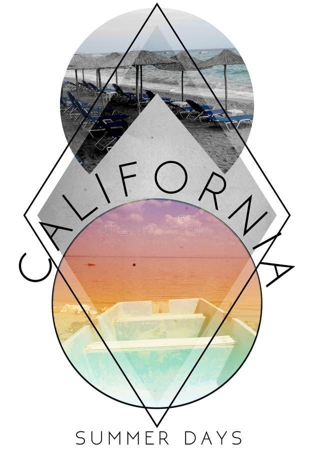 加利福尼亚照片印刷品;例证;印刷术;T恤杉grap 皇族释放例证