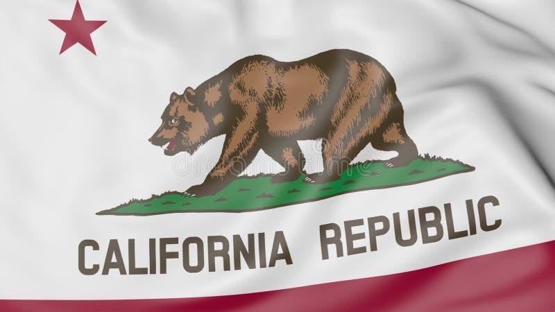 加利福尼亚状态挥动的旗子  3d翻译 免版税库存图片