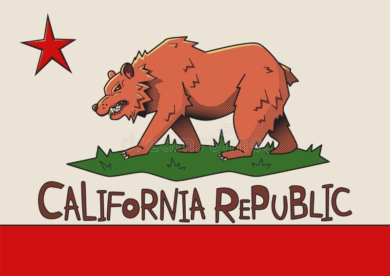 加利福尼亚状态美国,传染媒介例证风格化旗子  皇族释放例证