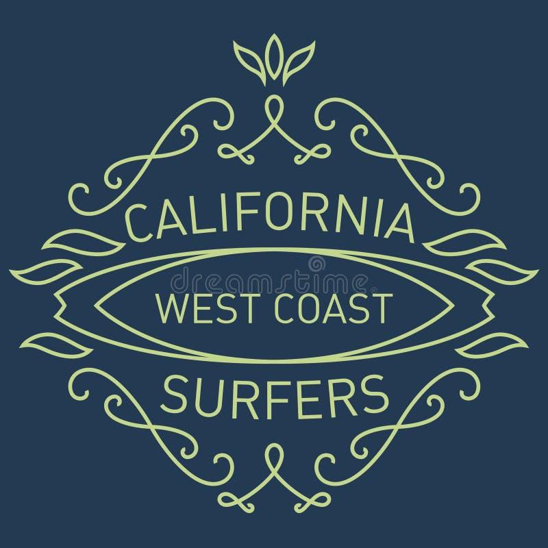 加利福尼亚西海岸冲浪者 组合图案样式 传染媒介艺术品f 库存例证