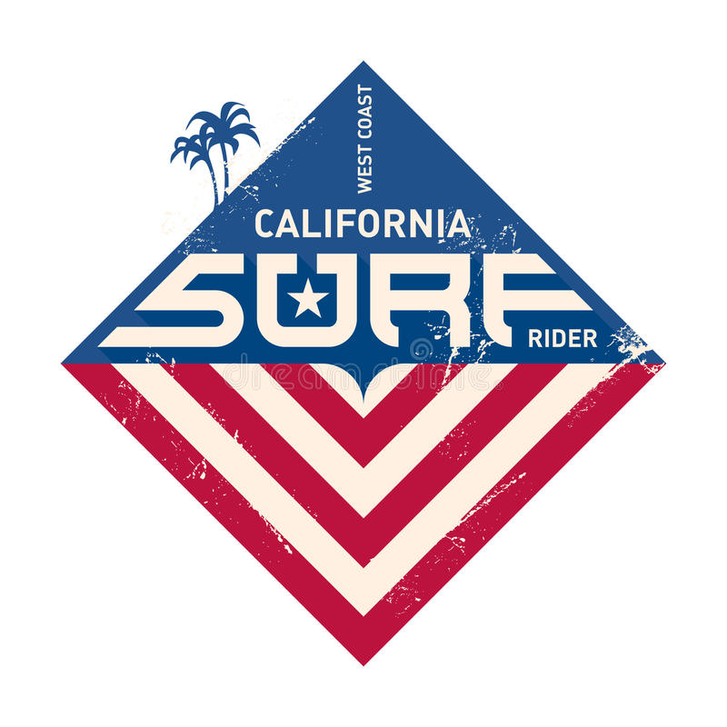 加利福尼亚西海岸冲浪者 太平洋队 传染媒介Illust 向量例证