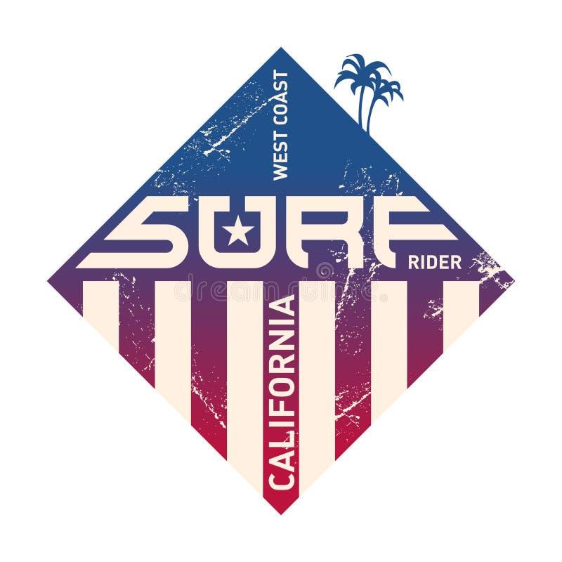 加利福尼亚西海岸冲浪者 太平洋队 向量例证