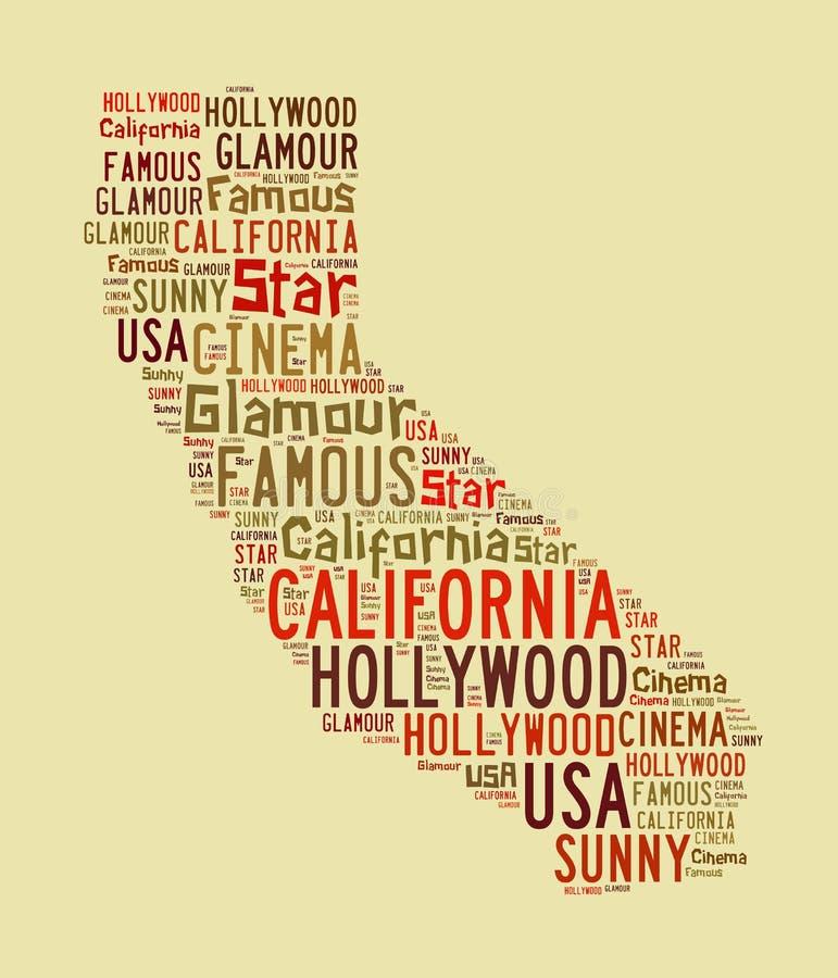加利福尼亚词云彩 向量例证