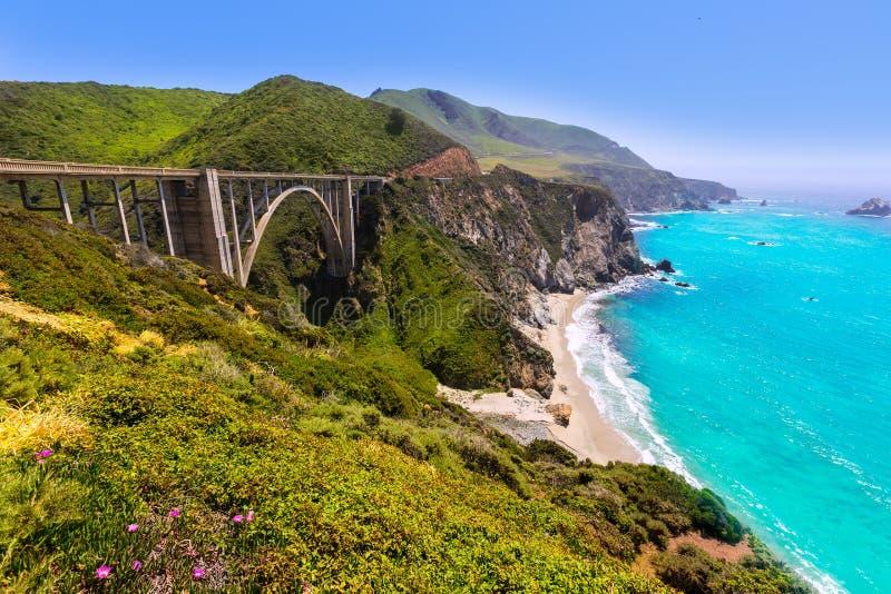 加利福尼亚Bixby桥梁在路线的1大瑟尔蒙特雷县 免版税库存图片
