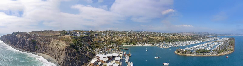 加利福尼亚Dana Point 全景鸟瞰图 免版税图库摄影