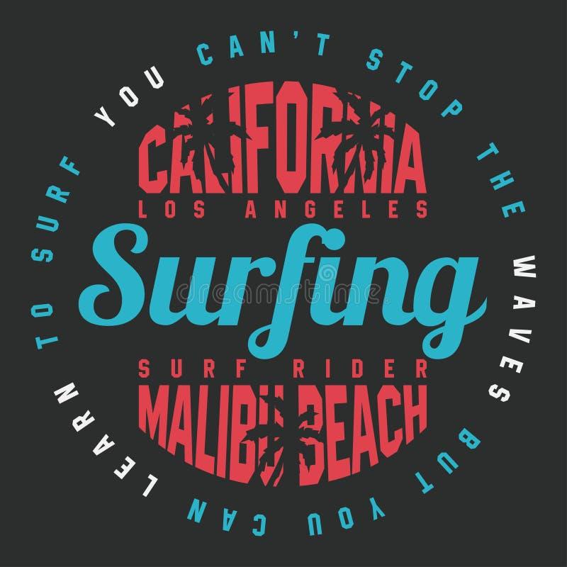 加利福尼亚T恤杉印刷品的海浪印刷术 T恤杉图表 皇族释放例证
