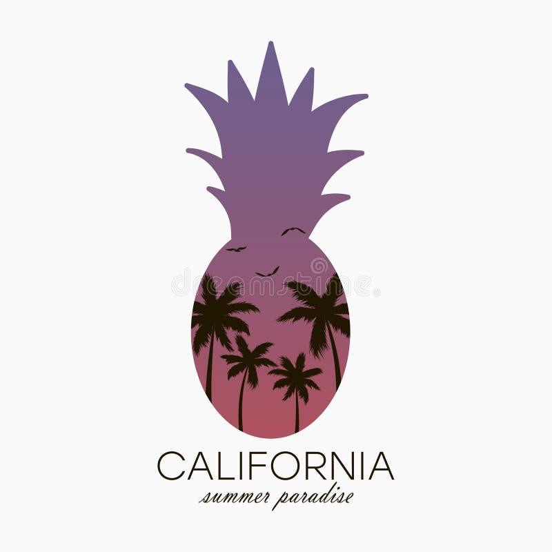 加利福尼亚T恤杉的菠萝印刷术有棕榈树和梯度的 向量 库存例证