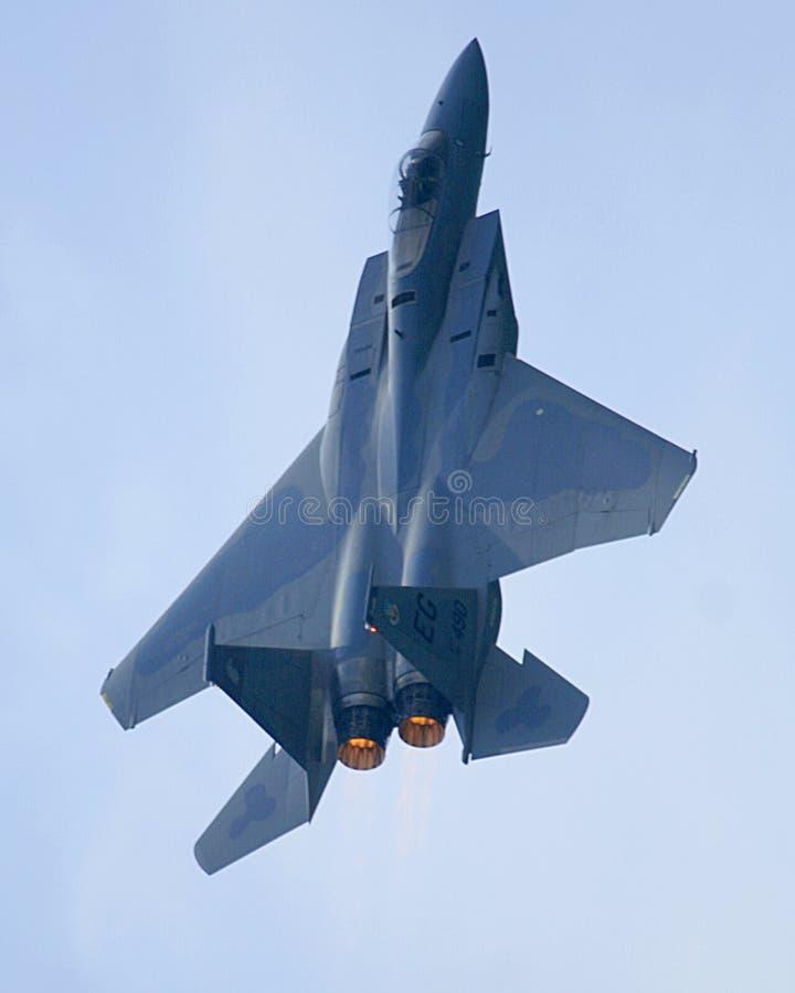 加力燃烧室老鹰f15喷气机 库存图片