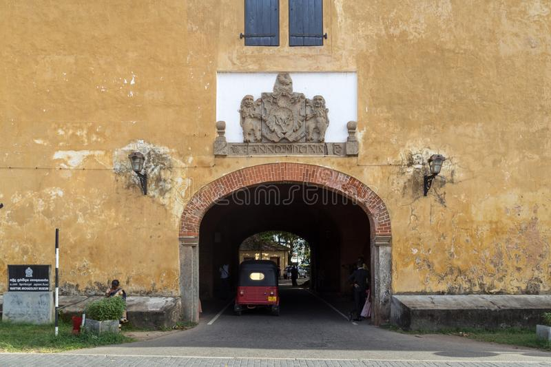 加勒堡垒老门 库存图片