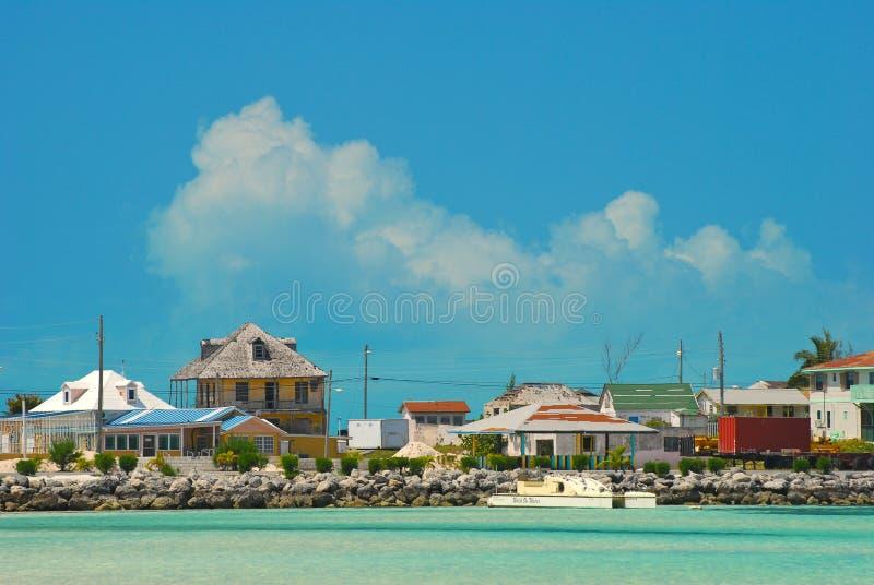 加勒比城市海运视图 免版税图库摄影