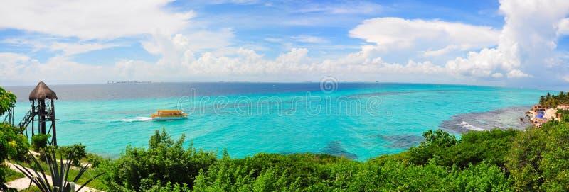 加勒比墨西哥全景海运 免版税图库摄影