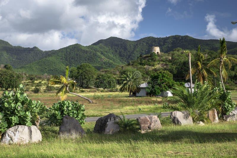 加勒比岛安提瓜岛的热带风景 库存照片