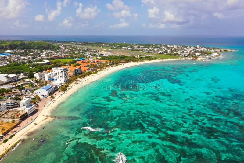 加勒比岛的海岸线 库存图片