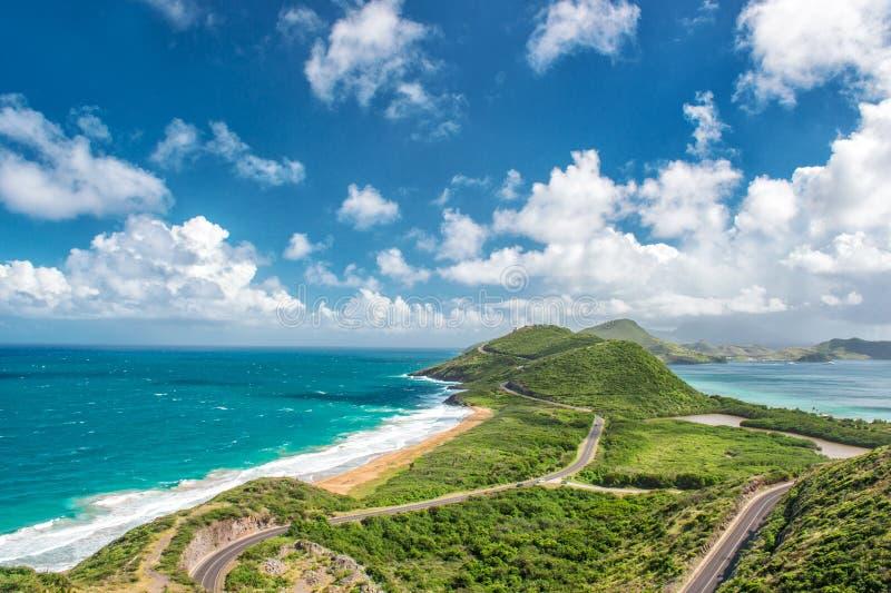 加勒比岛St基茨希尔自然风景蓝天 免版税库存图片