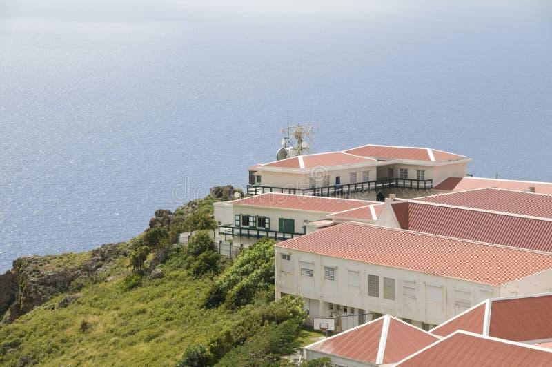 加勒比峭壁saba海运村庄 库存照片