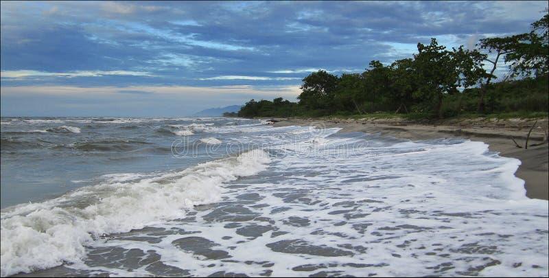 加勒比海、多暴风雨的天气、海有波浪的和海滩视图,洪都拉斯,拉塞瓦 库存图片