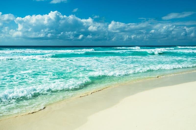 加勒比海滩全景, Tulum,墨西哥 免版税库存图片