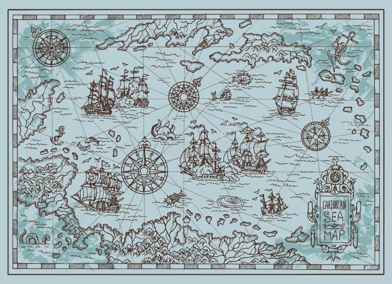 加勒比海的老地图有海盗船的,珍宝海岛,幻想生物 库存例证