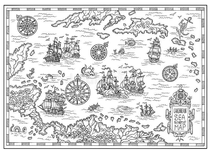加勒比海的黑白海盗地图有老船、海岛和幻想生物的 库存例证