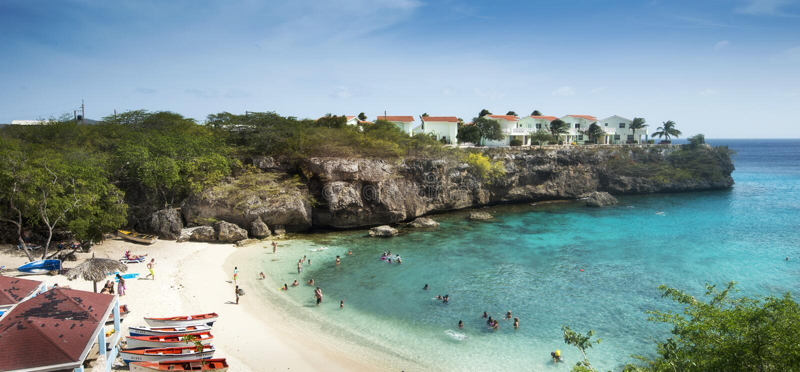 加勒比海滩Playa Lagun库拉索岛 库存图片