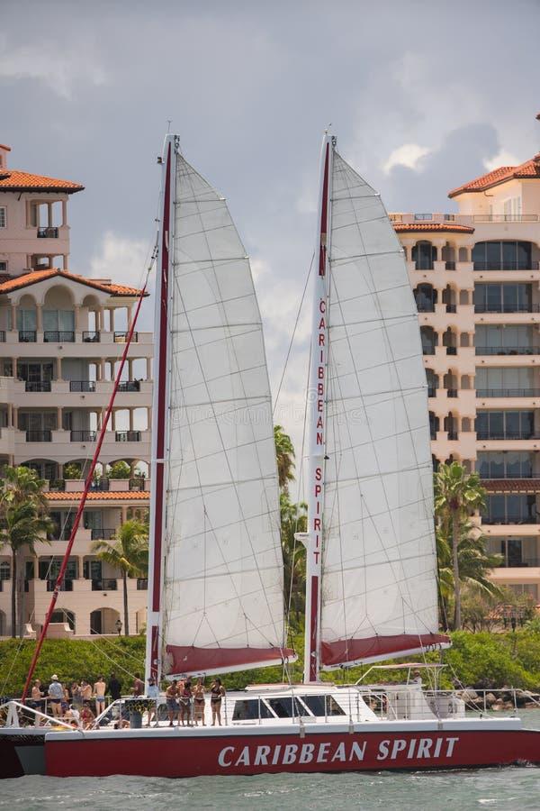 加勒比精神的照片与游人离去的迈阿密海滩的 免版税库存照片
