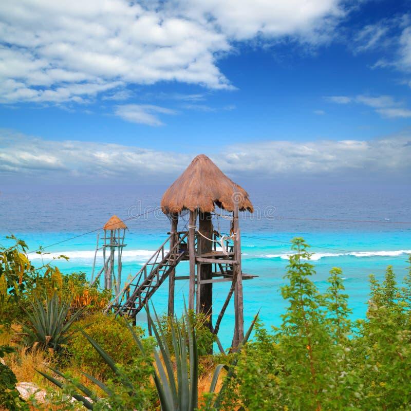 加勒比线路海运绿松石tyrolean邮政编码 免版税库存照片