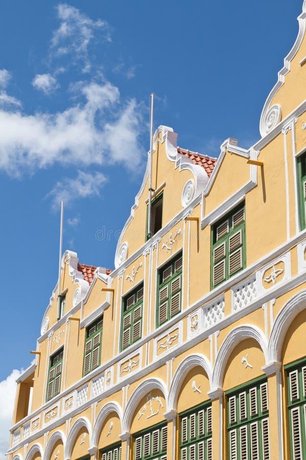 加勒比荷兰语殖民地大厦门面  免版税图库摄影