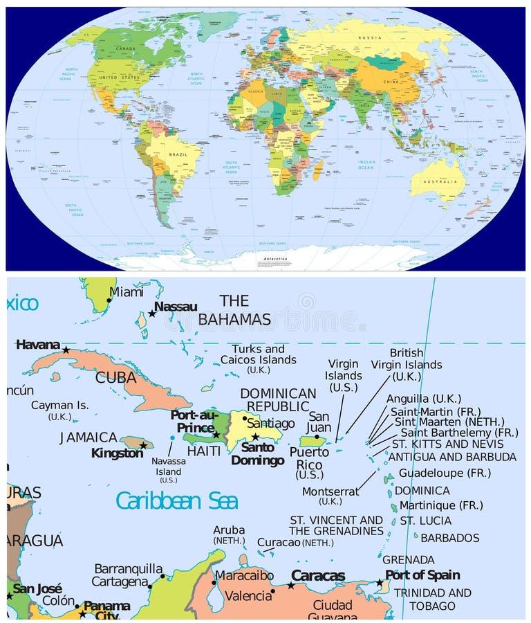 加勒比&世界 皇族释放例证