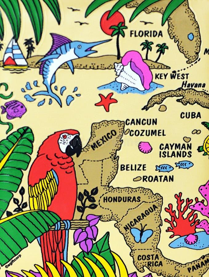 加勒比滑稽的地图 图库摄影