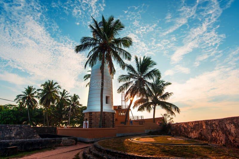 加勒荷兰堡垒灯塔在斯里兰卡 库存照片