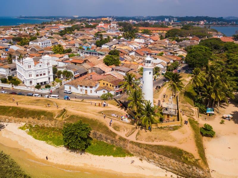 加勒荷兰堡垒 加勒堡垒,斯里兰卡,鸟瞰图 库存照片