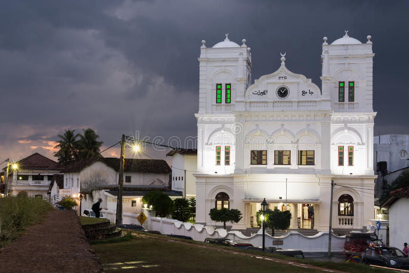 加勒,斯里兰卡- 2016年1月:荷兰堡垒的清真寺 免版税库存图片
