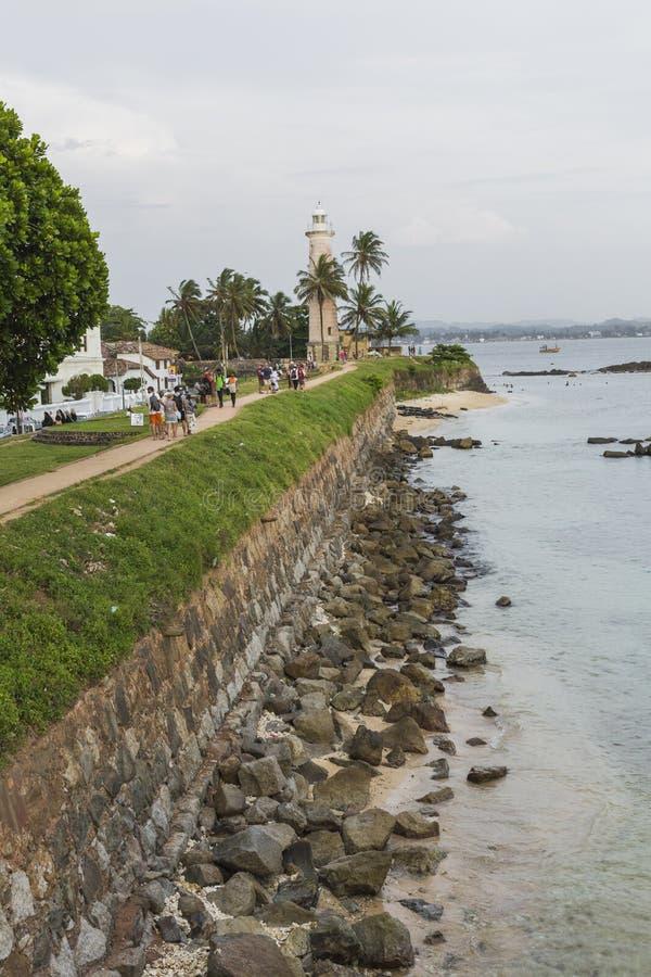 加勒,斯里兰卡- 2016年12月09日:在灯塔,堡垒附近的区域 图库摄影