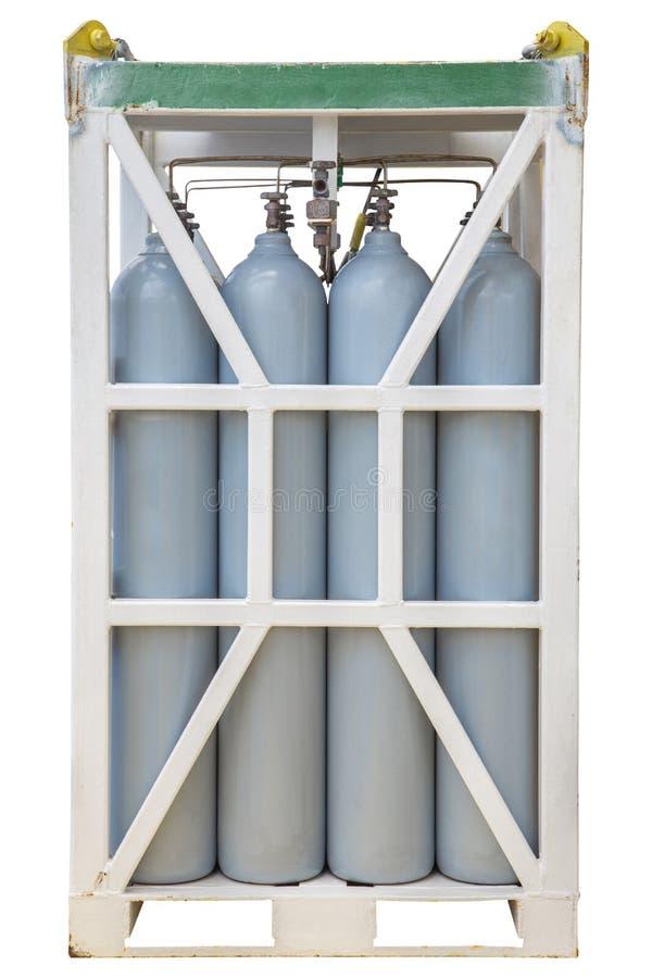 加压在机架,氮气圆筒的容器 免版税库存照片