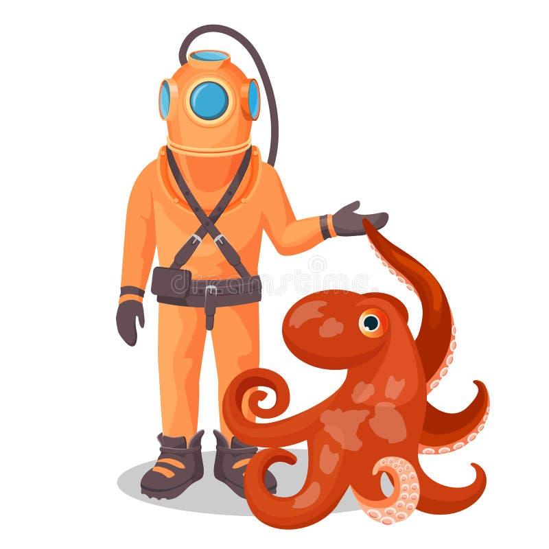 加压服的深海潜水者拿着海恶魔鱼和章鱼 向量例证