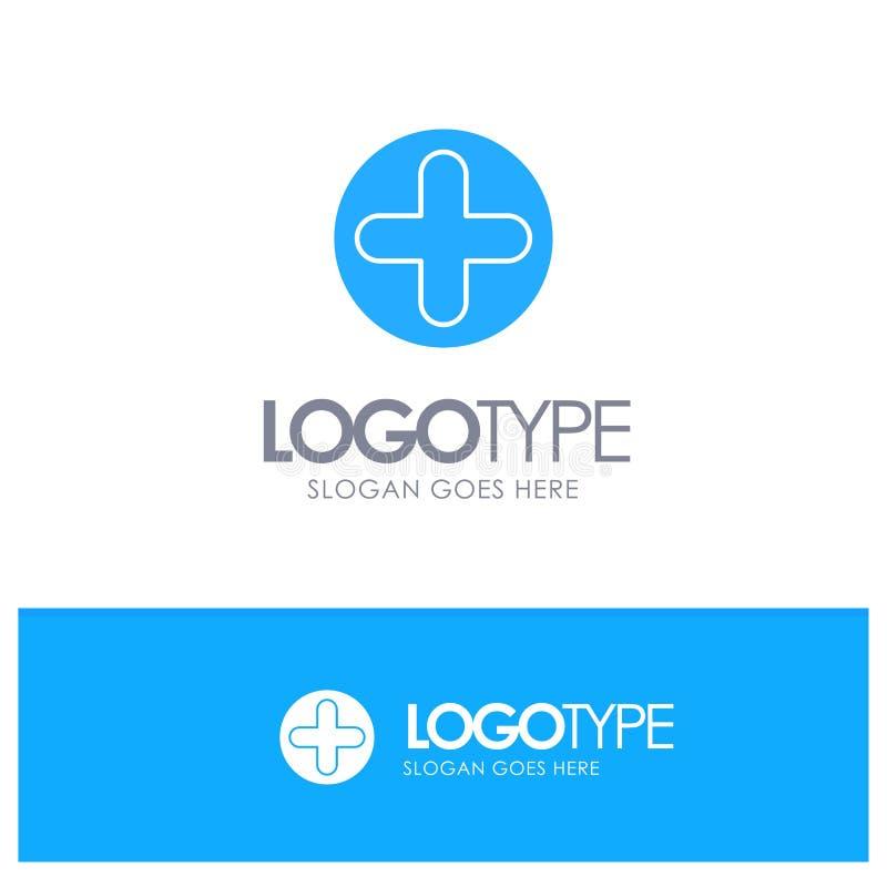 加号,标志,医院,与地方的医疗蓝色坚实商标口号的 向量例证