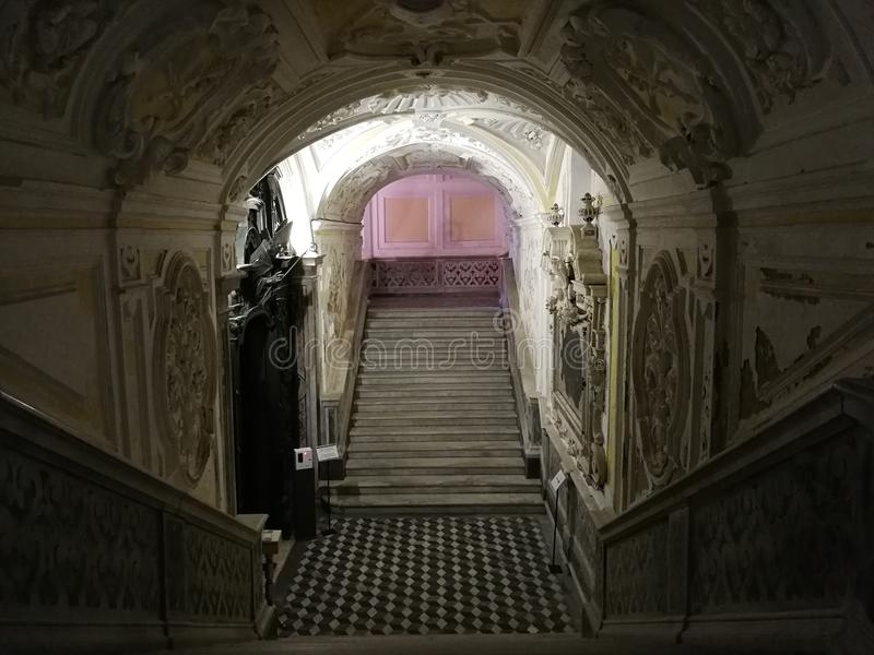 加埃塔中央寺院-访问台阶对Succorpo 库存照片