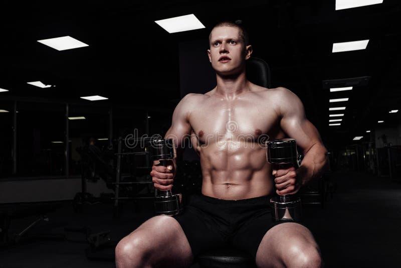 加大英俊的坚强的运动的人干涉与哑铃 有做在健身房的赤裸体育躯干的肌肉爱好健美者锻炼 图库摄影