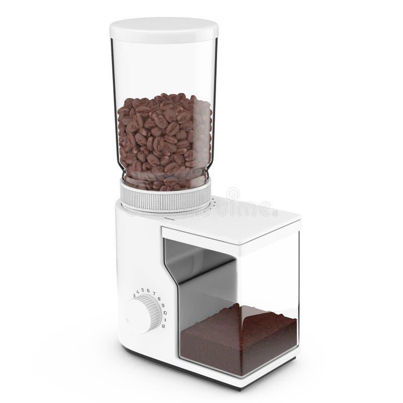 加奶咖啡研磨机用咖啡豆 3d翻译 向量例证