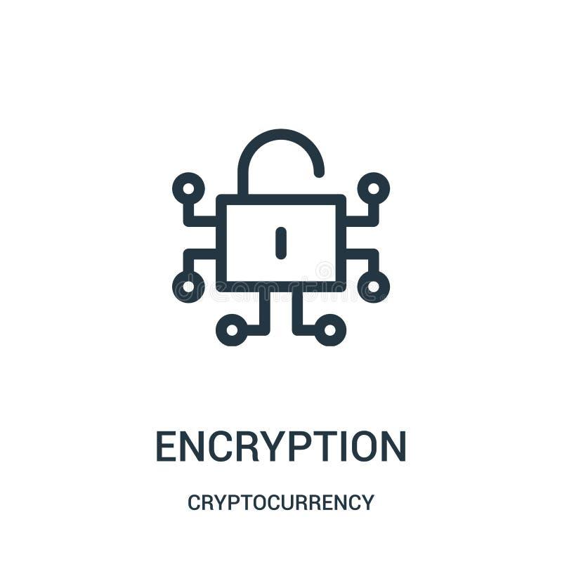 加密从cryptocurrency汇集的象传染媒介 稀薄的线加密概述象传染媒介例证 向量例证