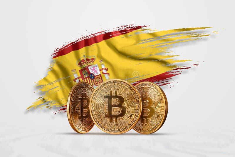 加密货币,金币比特币BTC 西班牙国旗背后的比特币新货币的概念, 库存图片- 图片包括有金黄, 全球: 146943207