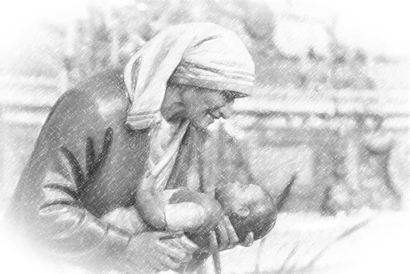 加尔各答的真福加尔各答的德肋撒的例证 图库摄影