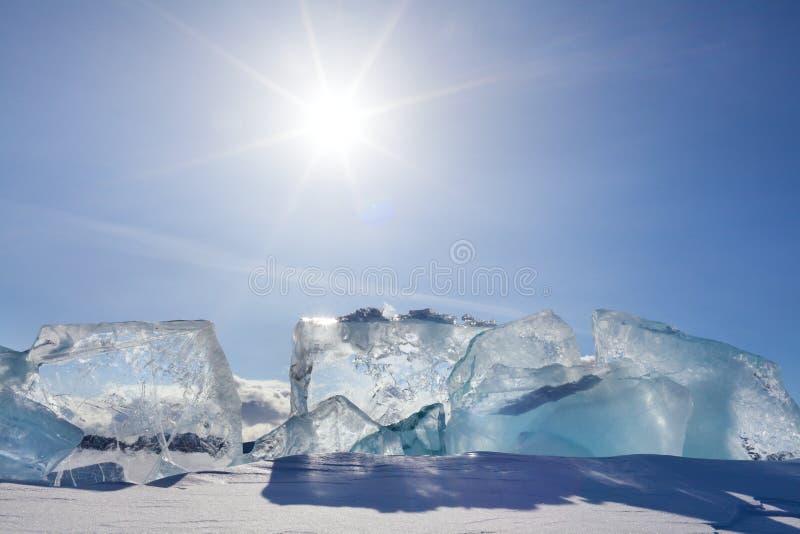 贝加尔湖冰 免版税图库摄影