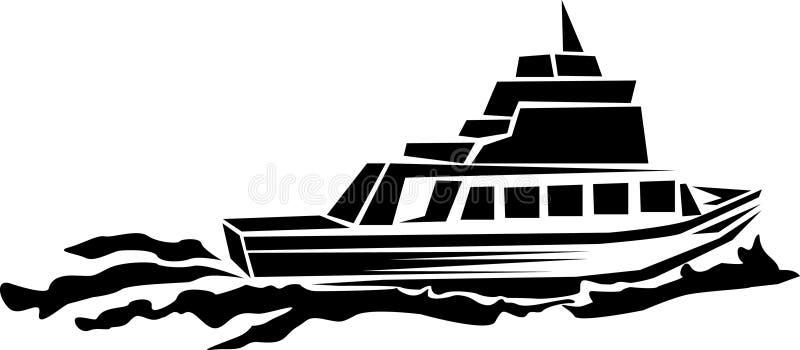 贝加尔湖小船湖马达全景 皇族释放例证