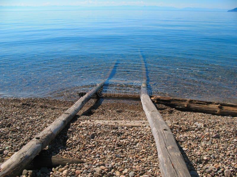 贝加尔湖湖岸 免版税库存照片