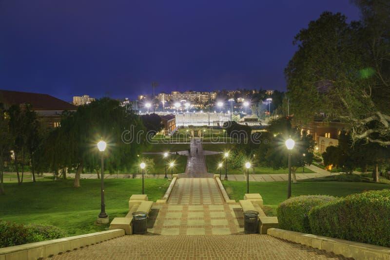 加州大学洛杉矶分校校园空中夜视图  图库摄影