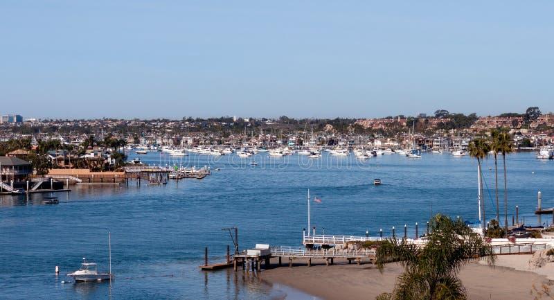 加州纽波特海滩港城市天际线 库存照片