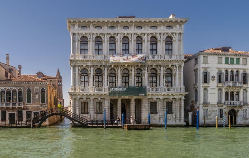 加州Rezzonico,重创的运河,威尼斯,意大利 图库摄影