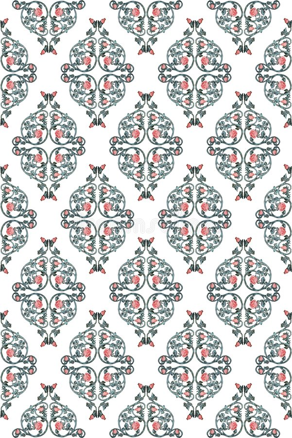 加工铁模式玫瑰色的藤 免版税库存图片